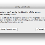 Apple Mail – Exchange – Security certificate error