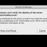 Apple Mail – Exchange – Security certificate error
