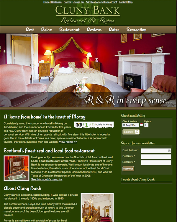 Website for Cluny Bank Hotel